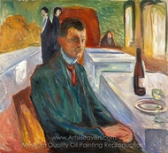 Self Portrait with a Bottle of Wine painting reproduction, Edvard Munch