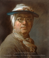 Self-Portrait with a Visor painting reproduction, Jean Simeon Chardin