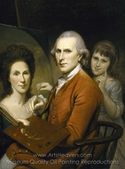 Self-Portrait with Angelica and Portrait of Rachel painting reproduction, Charles Willson Peale