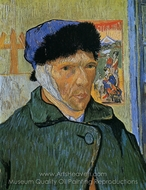 Self-Portrait with Bandaged Ear painting reproduction, Vincent Van Gogh