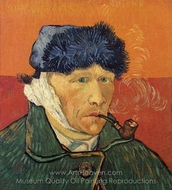 Self-Portrait with Bandaged Ear and Pipe painting reproduction, Vincent Van Gogh