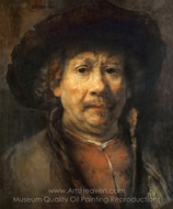 Self-Portrait with Beret painting reproduction, Rembrandt Van Rijn
