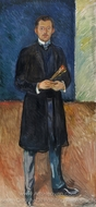Self Portrait with Brush painting reproduction, Edvard Munch