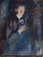 Self Portrait with Burning Cigarette painting reproduction, Edvard Munch