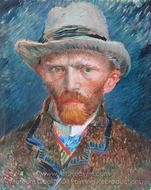 Self-Portrait with Grey Felt Hat painting reproduction, Vincent Van Gogh