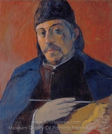 Self-Portrait with Palette painting reproduction, Paul Gauguin