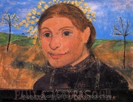 Self-Portrait with Trees in Blossom painting reproduction, Paula Modersohn-Becker