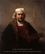 Self-Portrait with Two Circles painting reproduction, Rembrandt Van Rijn