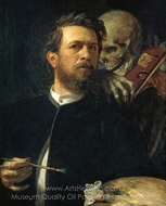 Self-Portrait with Violin painting reproduction, Arnold Bocklin