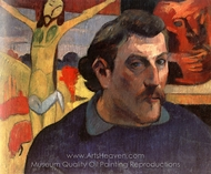 Self-Portrait with Yellow Christ painting reproduction, Paul Gauguin