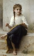 Sewing (La couturiere) painting reproduction, William A. Bouguereau