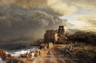 Shaded Landscape by the Sea with Figure Staging painting reproduction, Oswald Achenbach