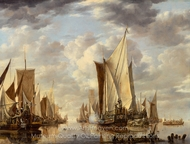 Shipping in a Calm at Flushing with a States General Yacht Firing a Salute painting reproduction, Jan Van De Cappelle