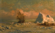 Shipping Vessel with Ice Floes and Figures painting reproduction, William Bradford