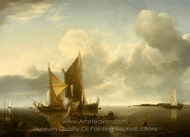 Ships in a Calm painting reproduction, Jan Van De Cappelle