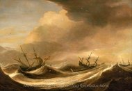 Ships in a Heavy Sea Running Before a Storm painting reproduction, Pieter Mulier