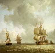Ships in a Light Breeze painting reproduction, Charles Brooking