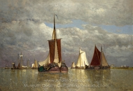 Ships Lying Near Dordrecht painting reproduction, Paul Jean Clays