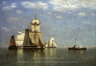 Ships Lying off Flushing painting reproduction, Paul Jean Clays