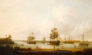 Ships off the Gun Wharf at Portsmouth, 1770 painting reproduction, Dominic Serres