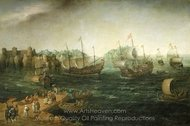 Ships Trading in the East painting reproduction, Hendrick Cornelisz Vroom