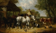 Shire Horses, Pigs and Other Livestock by a Stable painting reproduction, John Frederick Herring Sr.