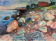 Shore with Red House painting reproduction, Edvard Munch