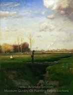 Short Cut, Watchung Station, New Jersey painting reproduction, George Inness