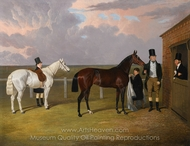 Sir Mark Wood with his Dark Brown Filly Vespa painting reproduction, John Frederick Herring Sr.