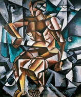 Sitting Female Nude painting reproduction, Liubov Popova
