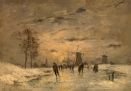 Skating in Holland painting reproduction, Johan Barthold Jongkind