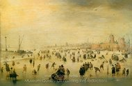 Skating Scene painting reproduction, Hendrick Avercamp