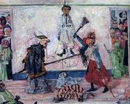 Skeletons Fighting for the Body of a Hanged Man painting reproduction, James Ensor
