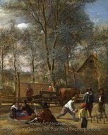 Skittle Players Outside an Inn painting reproduction, Jan Steen