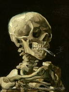 Skull with Burning Cigarette painting reproduction, Vincent Van Gogh
