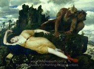 Sleeping Diana Watched by two Fauns painting reproduction, Arnold Bocklin