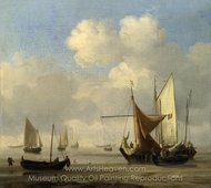 Small Dutch Vessels Around at Low Water in a Calm painting reproduction, Willem Van De Velde, The Elder