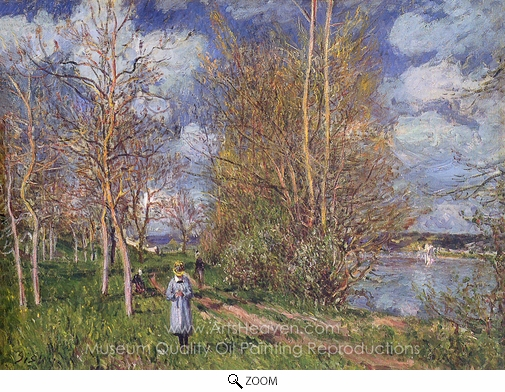 Alfred Sisley, Small Meadows in Spring oil painting reproduction