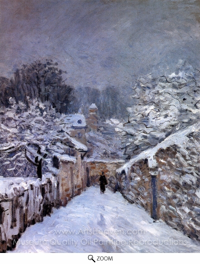 Alfred Sisley, Snow at Louveciennes oil painting reproduction