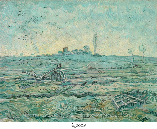Vincent Van Gogh, Snow Covered Field with a Harrow oil painting reproduction
