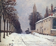 Snow on the Road, Louveciennes painting reproduction, Alfred Sisley