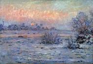 Snowy Landscape at Sunset painting reproduction, Claude Monet