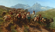Spanish Muleteers Crossing the Pyrenees painting reproduction, Rosa Bonheur