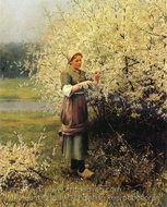 Spring Blossoms painting reproduction, Daniel Ridgway Knight