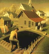 Spring in Town painting reproduction, Grant Wood