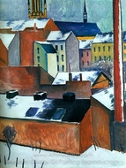 St. Mary's in the Snow painting reproduction, August Macke