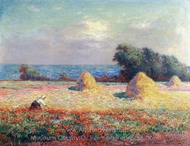 Stacks of Hay and Field of Poppies painting reproduction, Ferdinand Du Puigaudeau