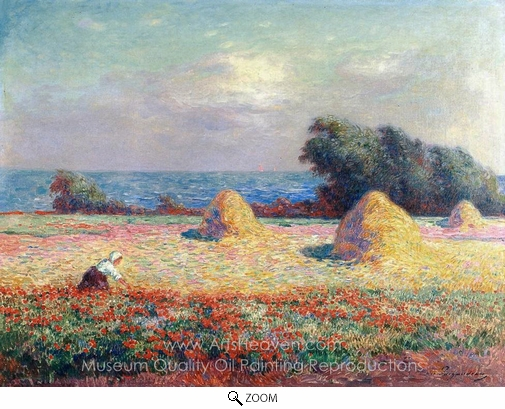 Ferdinand Du Puigaudeau, Stacks of Hay and Field of Poppies oil painting reproduction