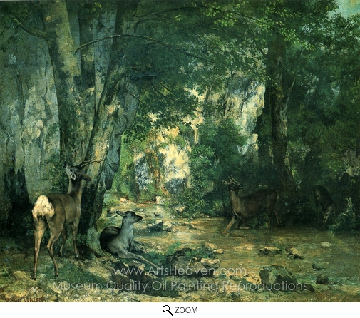 Gustave Courbet, Stags by the Stream at Plaisir-Fontaine, Doubs oil painting reproduction