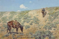 Stalking Antelope painting reproduction, Frederic Remington